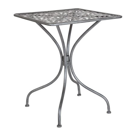 Silver Patio Furniture.Offex 23 5 Square Contemporary Antique Silver Indoor Outdoor Steel Patio Table