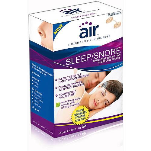 """air"""" Sleep/Snore - Drug-free Snoring Relief and Sleep-Enhancing Nasal Breathing Aid, 12 ct"""