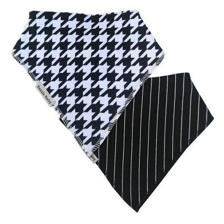 Bazzle Baby Banda Bib Black / White Houndstooth & Pinstripe -2 - Black & White Pinstripe