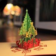 Micelec Handmade 3D Pop Up Christmas Tree Greeting Card Holiday Xmas Happy New Year Gift