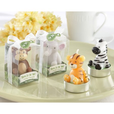 Baby Shower Favors Born To Be Wild Animal Tealight Candles (Set of 4)