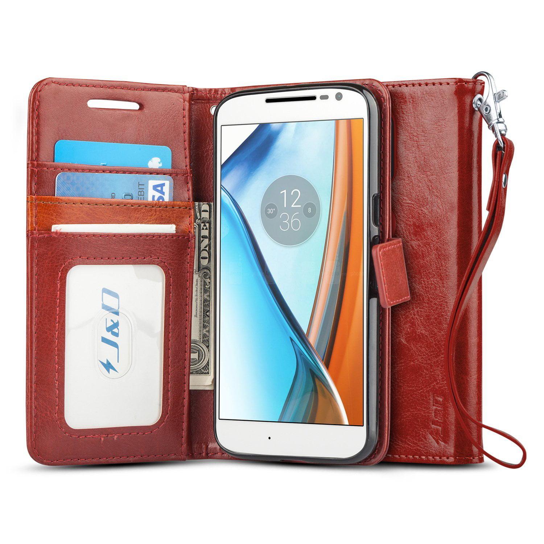 super popular 9bf4d 6db38 Moto G4/G4 Plus Case, J&D [Wallet Stand] [Slim Fit] Heavy Duty Protective  Shock Resistant Flip Cover Wallet Case for Motorola Moto G4, Moto G4 Plus  ...