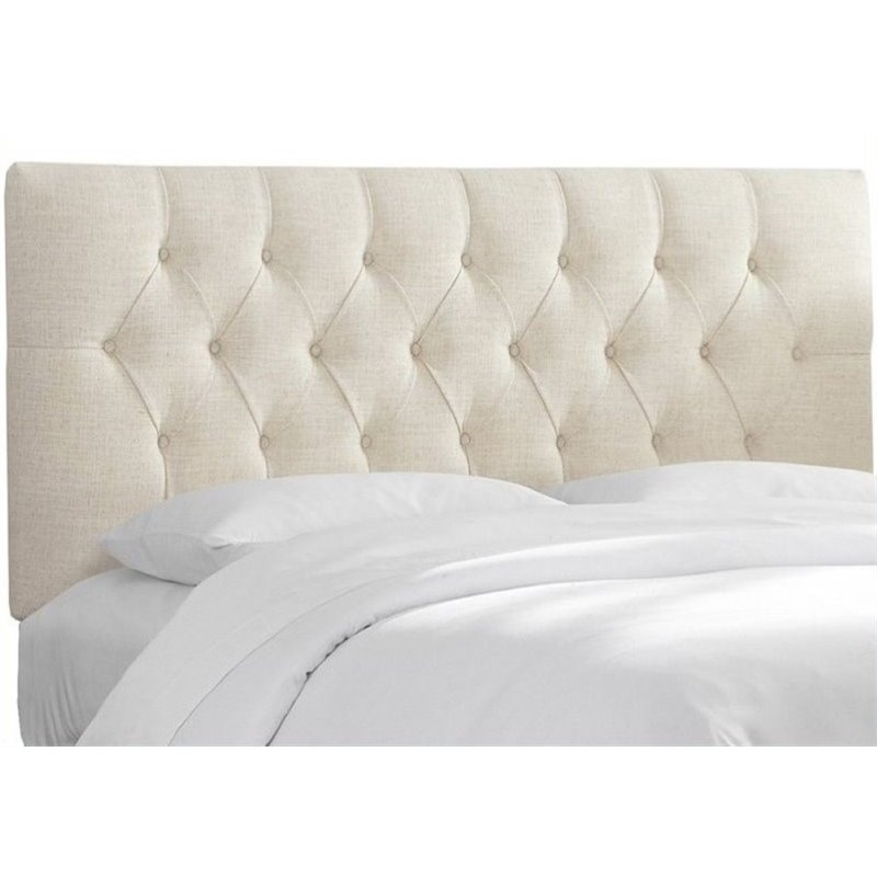 Pemberly Row Upholstered King Tufted Panel Headboard in White