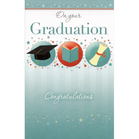Freedom Greetings 3 Graduation Symbols and Tiny Stars Graduation Card