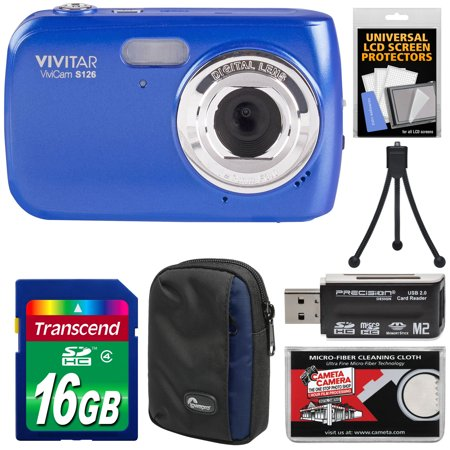 Vivitar ViviCam S126 Digital Camera (Blue) with 16GB Card + Case + Mini Tripod + Reader +