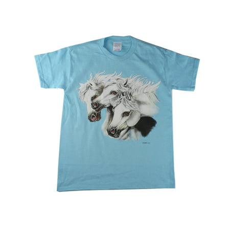 Unisex Blue Three Horse Head Graphic Print Cotton Short Sleeve T-Shirt Horse Head T-shirt