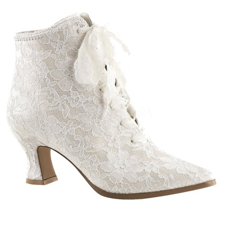 Victorian Lace Wedding Boot Ivory VIC-30 - Ivory, 6
