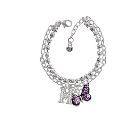 Large Purple Butterfly with 6 AB Crystals -M- Double Strand Madison Charm Bracelet