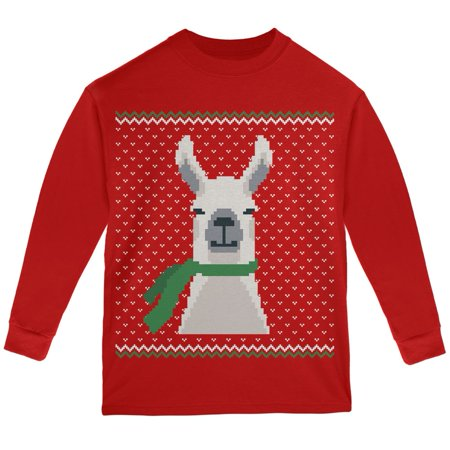 Ugly Christmas Sweater Big Llama Red Youth Long Sleeve T-Shirt - Ugly Christmas Sweater Girls