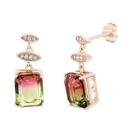 Sterling Silver Dangling Emerald Cut Watermelon Cubic Zirconia Post Earring