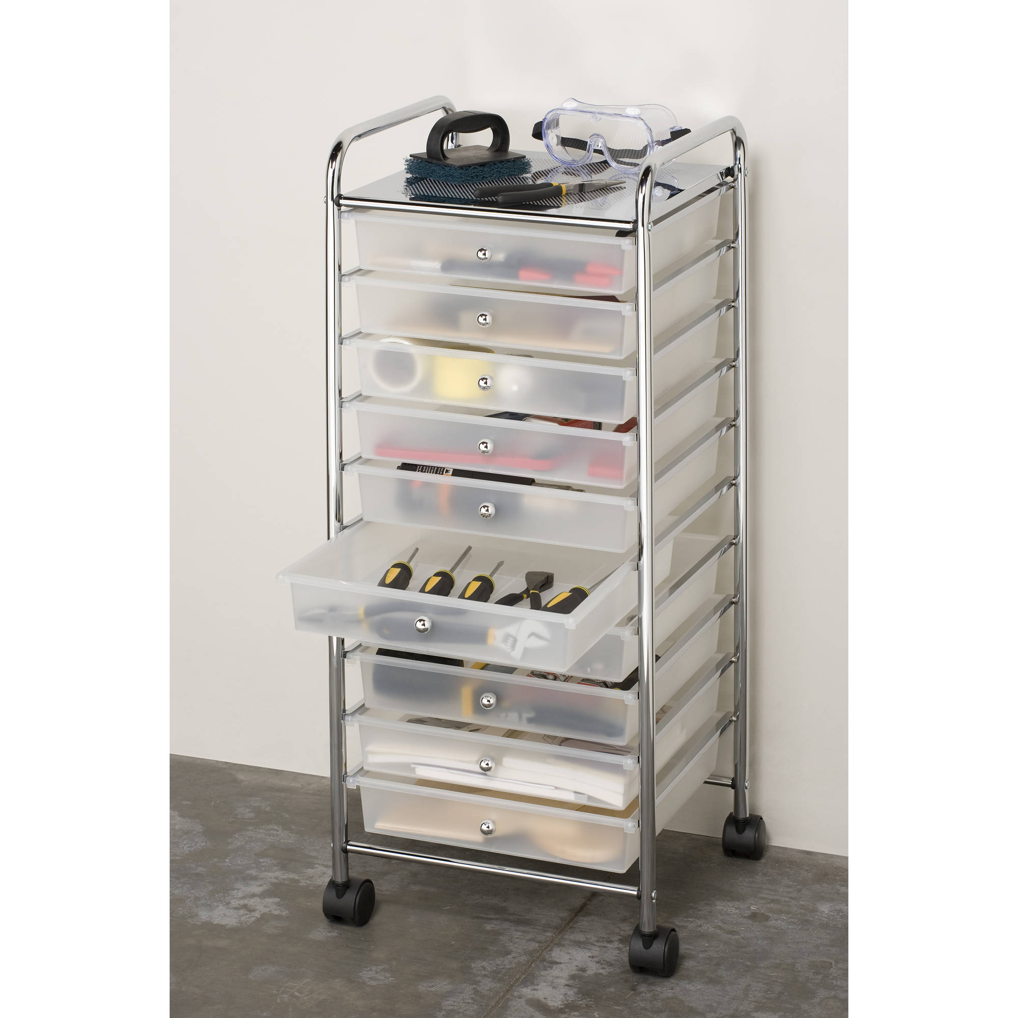 Good Storage Organizer Cart 10 Drawer Rolling Plastic Office Cabinet Drawers Bin  Box