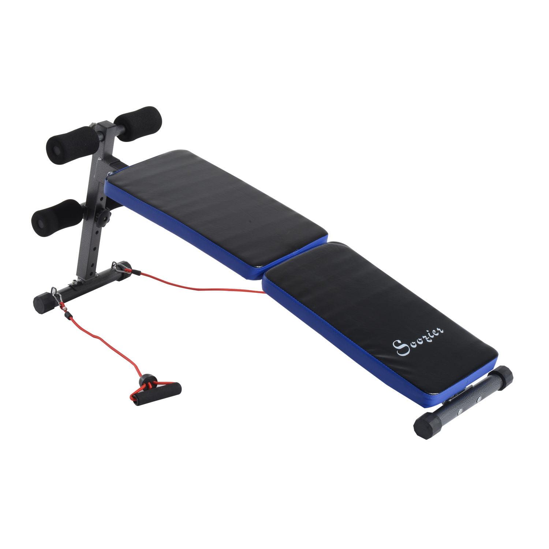 Soozier Adjustable Folding Sit Up Bench w/ Resistance Bands - Blue/Black
