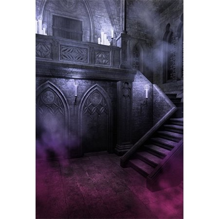 HelloDecor Polyster 5x7ft Gloomy Gothic Style Backdrop For Photography Scary Vintage Room Stone Wall Stairs Candle Halloween Background Photo Studio Props Adult Girl Boy Kid Artistic Portrait](Studio Halloween Props)