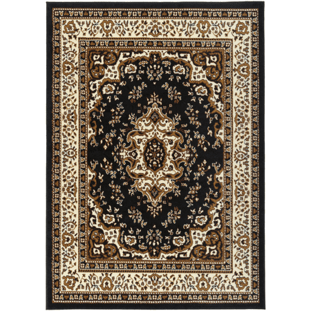 Antep Rugs Kashan King Collection HIMALAYAS Oriental Polypropylene Indoor Area Rug Black and Beige 8' X - Oriental Inlay