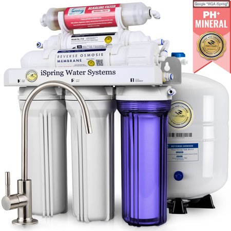 Undersink Reverse Osmosis - iSpring Reverse Osmosis Water Filter System w/ Alkaline Mineral Stage - 75GPD 6-stage RCC7AK with Designer Faucet