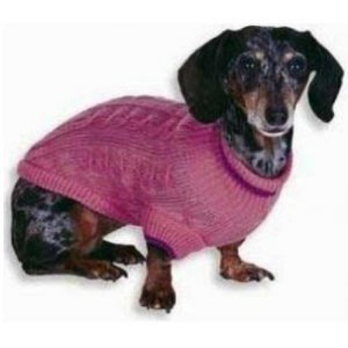 "Fashion Pet Classic Cable Knit Dog Sweaters - Pink XX-Small - (Fits 6""-8"" Neck to Tail)"