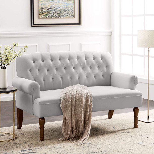 Mid-Century Upholstered 59 Inch Sofa Couch, Elegant Tufted Design, Modern Contemporary Linen Fabric Loveseat for Living Room, Small Space