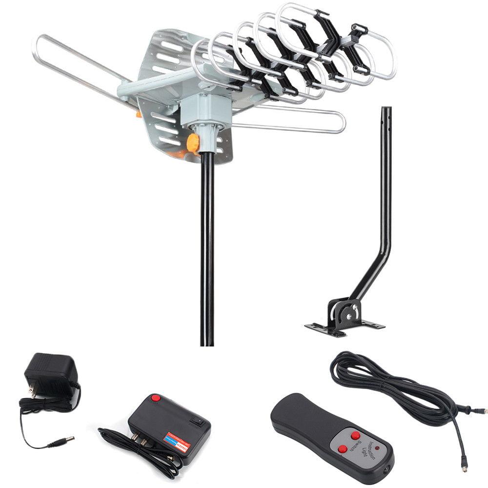 Ktaxon HDTV Outdoor Amplified Antenna HD TV 36dB Remote 360 Degree UHF/VHF/FM + Pole
