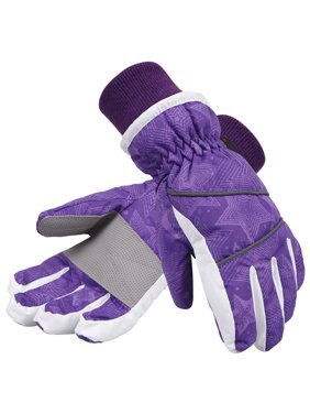 Simpli-Kids Girl's Waterproof Thinsulate Winter Ski & Snowboard Gloves, Stars Pattern,L,Purple