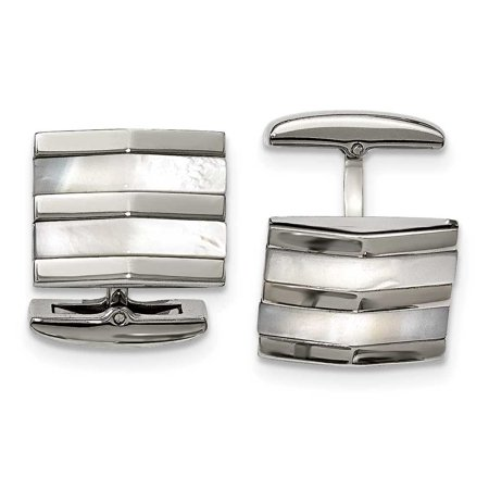 Stainless Steel Polished Mother Of Pearl Square Cuff