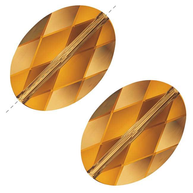 Swarovski Crystal, #5050 Oval Beads 14mm, 2 Pieces, Topaz