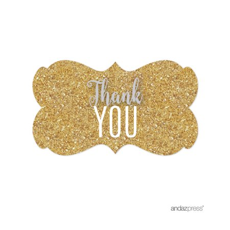 Signature Light Gray, White, Gold Glittering, Fancy Frame Labels Stickers, Thank You!, (Frame Sticker)