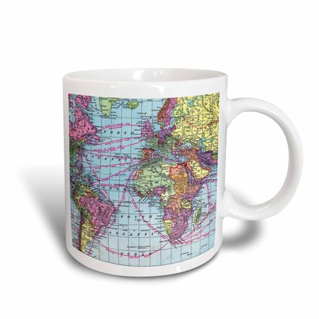3dRose Colorful Vintage World Map - distance calculations between countries on lines - south america africa - Ceramic Mug, 15-ounce