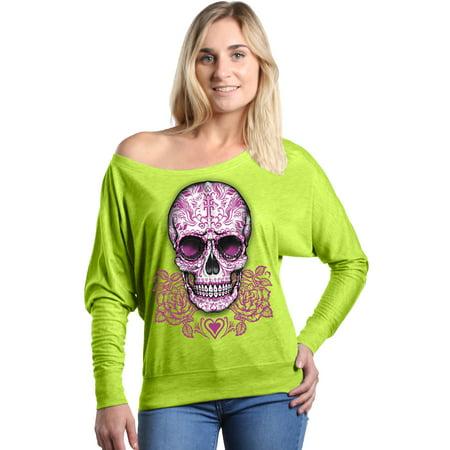 Shop4Ever Women's Pink Rose Skull Day of the Dead Off Shoulder Long Sleeve Shirt - Dead Rose