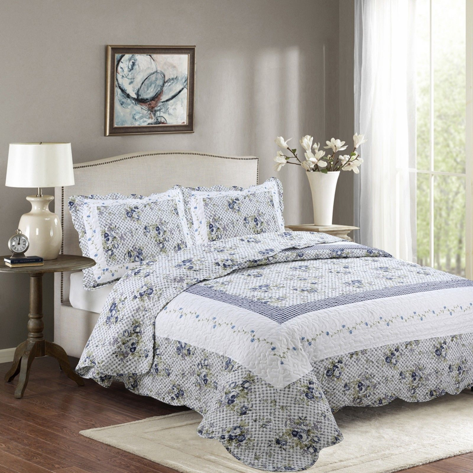 Fancy Linen 2pc Twin Reversible Bedspread Floral White Blue Green New # Nina