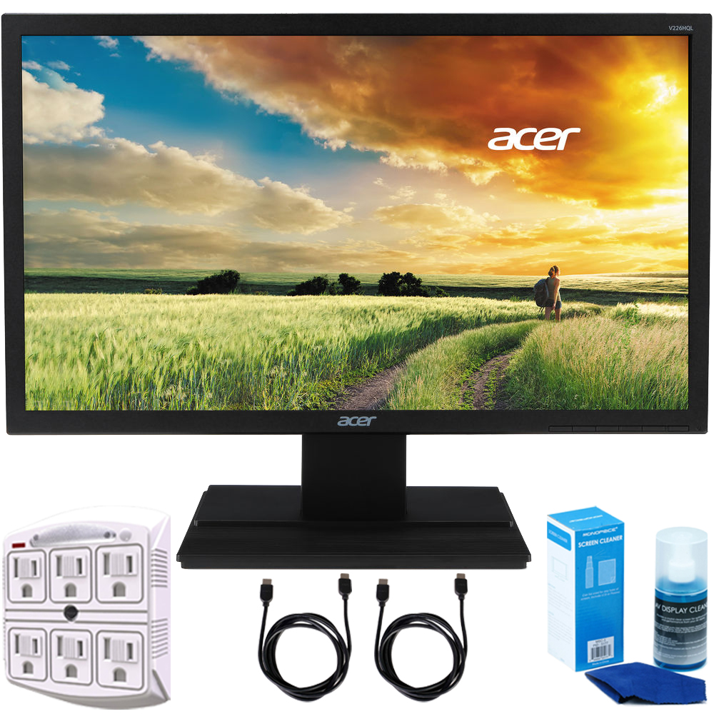 "Acer V226HQL 21.5"" Full HD LED Backlit LCD Monitor - (UM.WV6AA.B01) + 2x 6ft High Speed HDMI Cable + 6-Outlet Surge Adapter with Night Light + Universal Screen Cleaner"