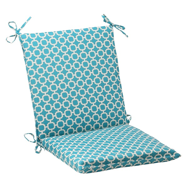 "36.5"" Moroccan Mosaic Blue Outdoor Patio Furniture Squared Chair Seat Cushion"