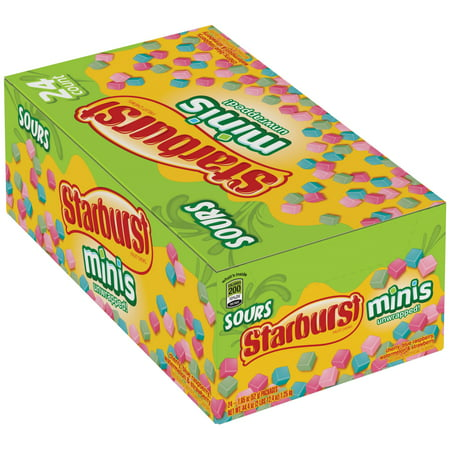 Starburst, Minis Sours Fruit Chews Candy, 1.85 Oz. (24 Count) (Sour Fruit Roll Up)