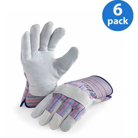 LP4300-L-6PK, 6 Pair Value Pack, Genuine Suede Leather Palm Work - Pro Grip Leather Gloves