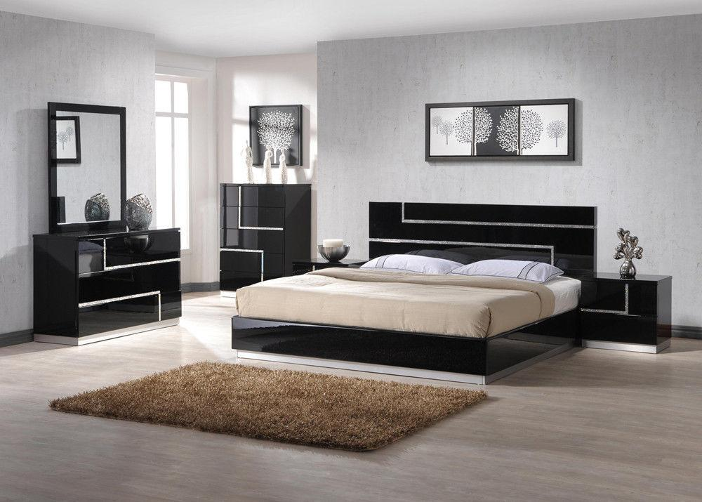 J&M Lucca Luxury Black Lacquer With Crystal Accents King Bedroom Set 3Pcs  Modern