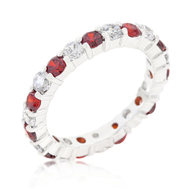 Kate Bissett R07349RS-C13-06 Mini Jessica Band With Garnet Cubic Zirconia, Size 06