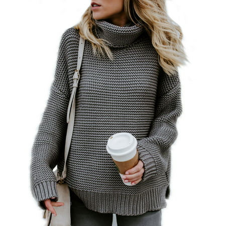 Scrunch Neck Sweater - Women Winter Warm Knitted Sweater Polo Neck Tops Chunky Knitting Pullover Loose Jumper Baggy Knit Turtle Neck Jumpers