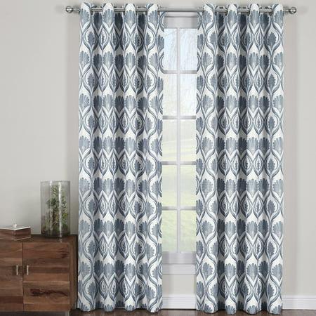 Cotton Modern Curtain - Modern Jacqueline Jacquard Drapes Grommet Top (Set of 2 Panels)