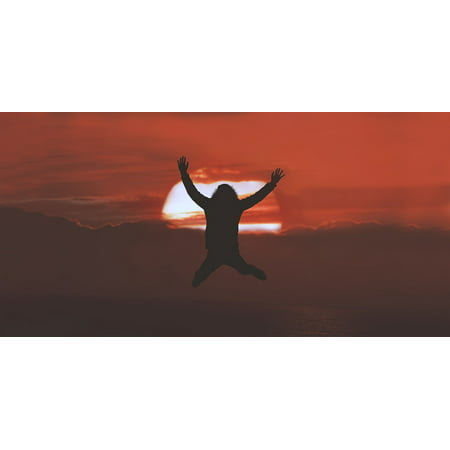 Canvas Print Silhouette Clouds Sunset Jump People Stretched Canvas 32 x 24