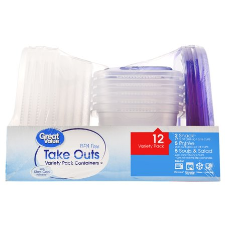 (2 pack) Great Value Take Outs Variety Pack Containers, 12 Count