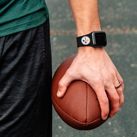 Pittsburgh Steelers Silicone Sport Band Compatible with Apple Watch - 42mm Black - NFL Watch Band
