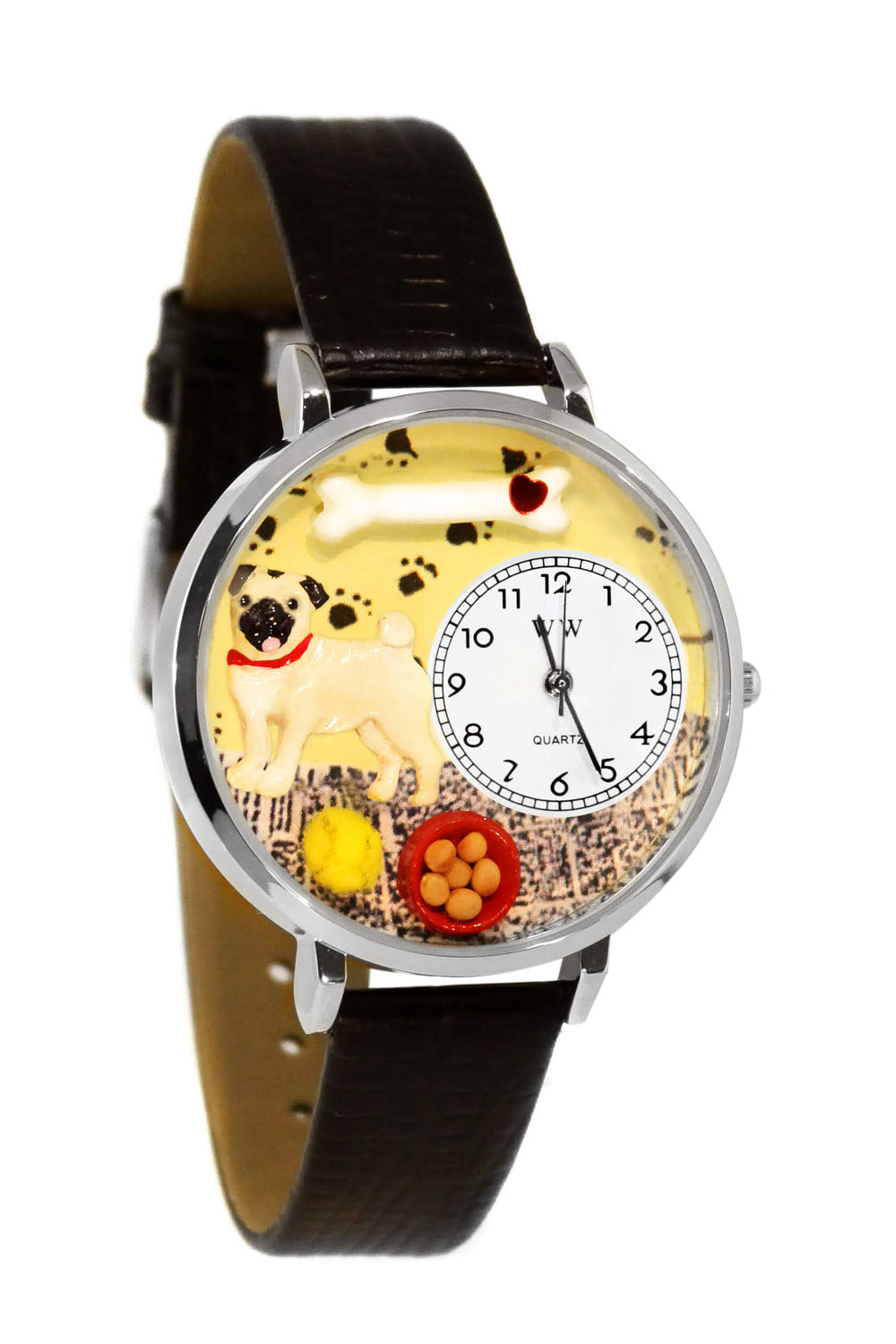 Whimsical Pug Black Skin Leather And Silvertone Watch