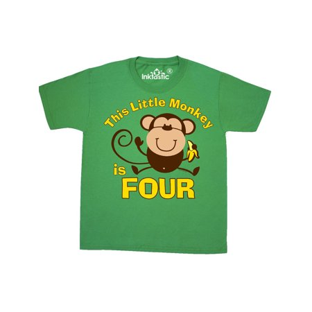 Little Monkey 4th Birthday Boy Youth T-Shirt](Little Boys Birthday)
