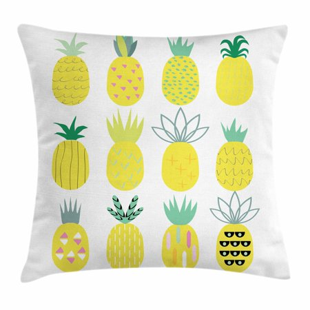 Pineapple Throw Pillow Cushion Cover, Collection of Pineapples with Different Patterns Lines Rhombuses and Zigzags, Decorative Square Accent Pillow Case, 18 X 18 Inches, Multicolor, by Ambesonne (Decorative Pineapple)