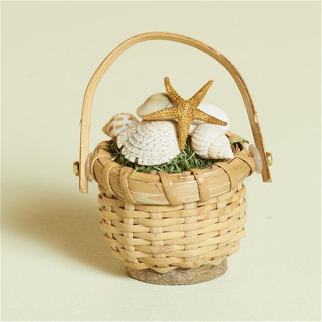 Harvest of Barnstable A2-3 2 inch High Nantucket Style Basket With Shells Sea Stars, Set Of 3