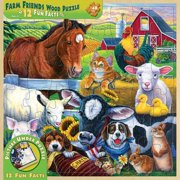 MasterPieces Wood Fun Facts - Farm Friends 48pc Wood Puzzle