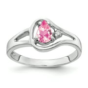 Primal Gold 14 Karat White Gold 6x4mm Pear Pink Tourmaline and Diamond Ring