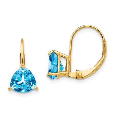 Roy Rose Jewelry 14K Yellow Gold 7mm Trillion Blue Topaz Leverback Earrings
