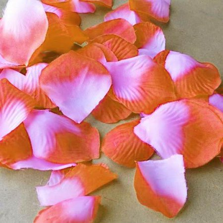 Coral Petals (Two Tone Faux Rose Petals Table Confetti, 400-Piece, Coral )