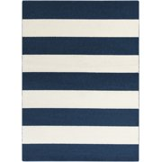 9.25' x 12.5' Bold Stripes Colbalt Blue and Ivory Decorative Area Throw Rug