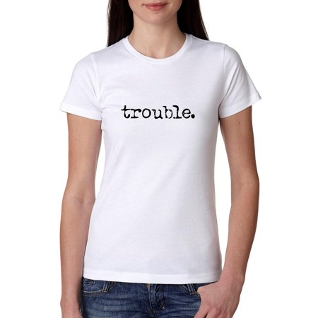 Simple Classic T-shirt - Trouble. Period - Simple Classic Distressed Women's Cotton T-Shirt